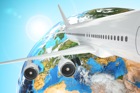 airliner: Airplane travel background. Airliner and earth. 3d Stock Photo