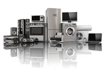 frigo: Huishoudelijke apparaten. Gasfornuis, tv bioscoop, koelkast airconditioner magnetron, een laptop en een wasmachine. 3d