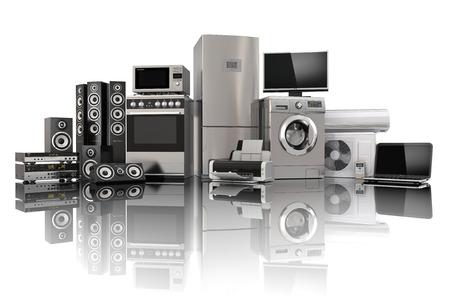 gospodarstwo domowe: Sprzęt AGD. Kuchenka gazowa, kino tv, lodówka klimatyzator mikrofalowa, laptop i pralka. 3d Zdjęcie Seryjne