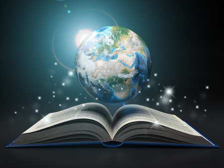 school globe: Earth and open book
