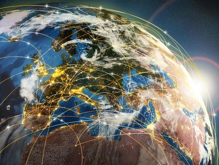 통신: 지구와 빛나는 광선은 네트워크 또는 항공사를 상징합니다. 3D 스톡 콘텐츠