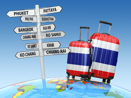 Suitcases and signpost what to visit in Thailand. 3d