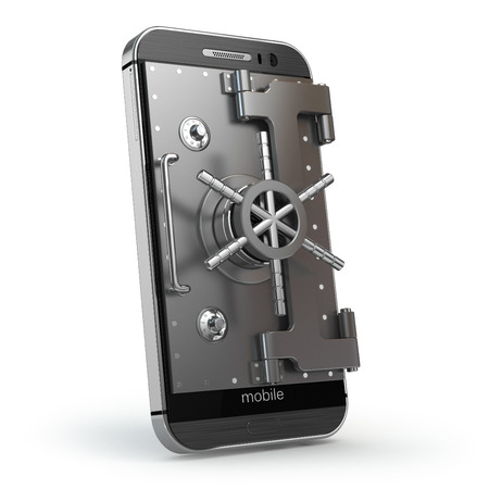 caja fuerte: Smartphone o teléfono móvil con bóveda o door.3D segura Foto de archivo