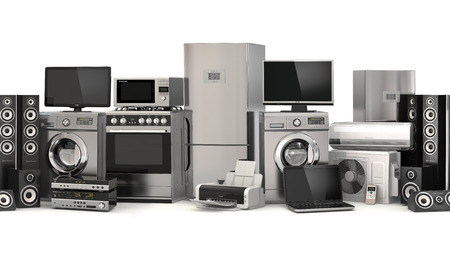 Home appliances: Cooker, tv cinema, refrigerator air conditioner microwave, laptop and washing machine. 3d Stock Photo
