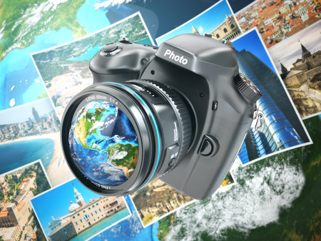 Digital photo camera on background from earth and photographs. 3d photo