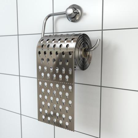 hemorrhoid: Hemorrhoids concept.Toilet paper  as grater. 3d