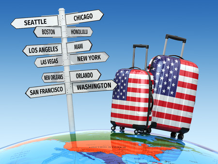 travel locations: Travel concept. Suitcases and signpost what to visit in USA. 3d