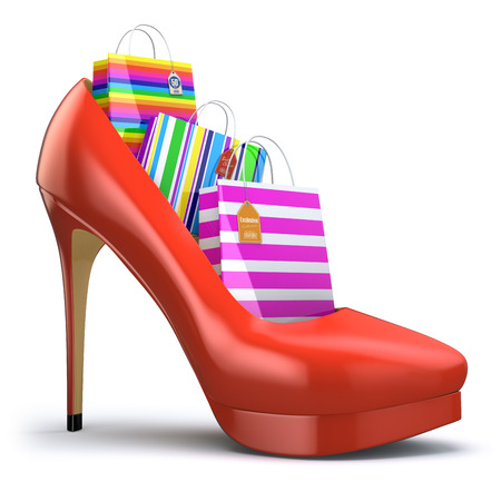 consumerism: Shopping bags in women high heel shoes. Concept of consumerism. 3d