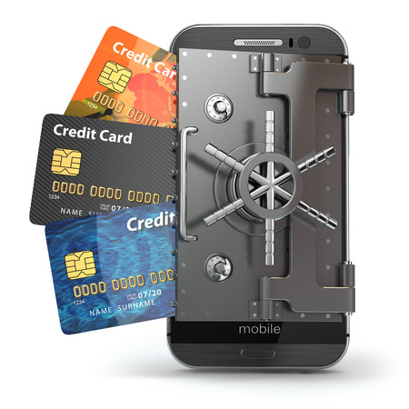 debit cards: Safety of mobile banking concept. Secure online payment. Smartphone as vault and credit cards. 3d
