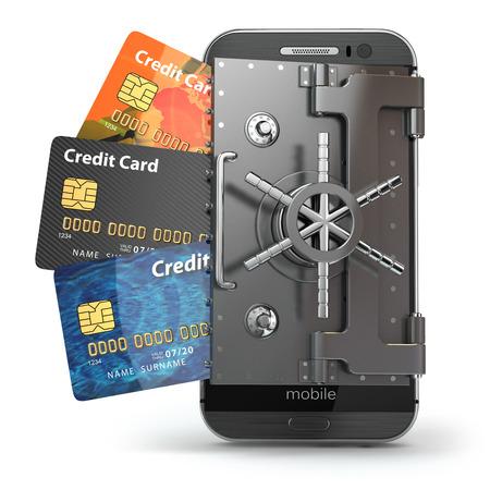Veiligheid van mobiel bankieren concept. Veilig online betalen. Smartphone als gewelf en creditcards. 3d