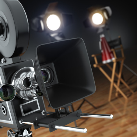 director chair: Video, movie, cinema concept. Retro camera, flash and directors chair in dark studio with dof effect. 3d