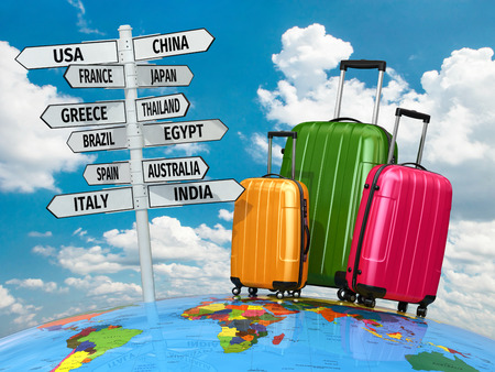 earth: Travel concept. Suitcases and signpost with countries. 3d Stock Photo