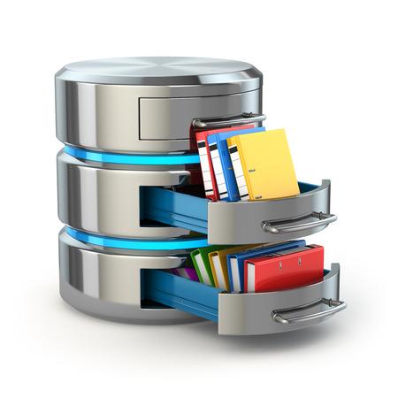 Datenbank-Storage-Konzept. Festplattensymbol mit Ordnern auf weiß isoliert. 3d Standard-Bild - 36743148