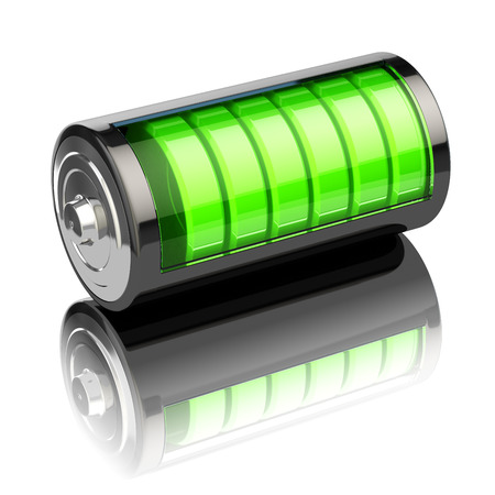 glossy icon: Battery charge level indicators isolated on white. Charging. 3d