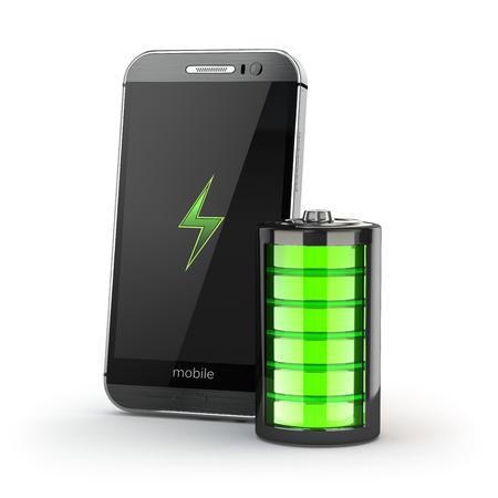 bateria: Teléfono móvil concepto de carga. Smartphone y el indicador de carga de la batería. 3d
