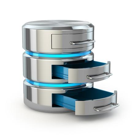 data backup: Database storage concept. Hard disk icon isolated on white. 3d Stock Photo