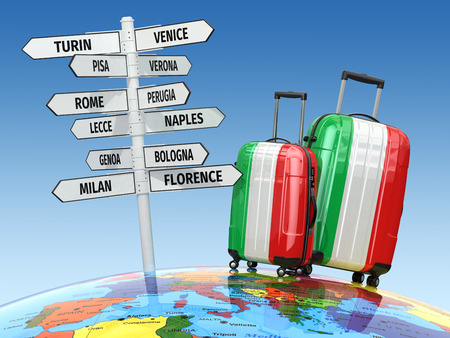 florence   italy: Travel concept. Suitcases and signpost what to visit in Italy. 3d