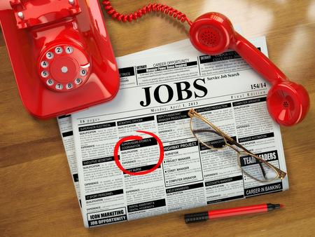 일자리를 찾고. 채용 모집. advertisments, 안경 및 모바일 신문. 3 차원 스톡 콘텐츠
