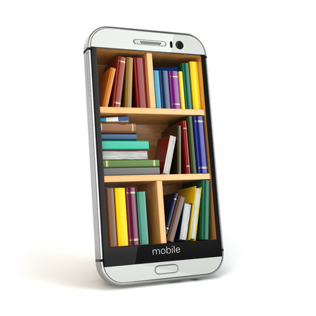 digital learning: E-learning education or internet library concept. Smartphone and books. 3d