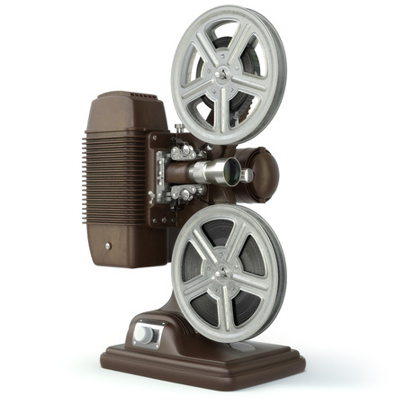 16mm: Vintage film movie projector isolated on white. 3d Stock Photo