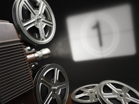 camara de cine: Cine, pel�cula o v�deo concepto. Proyector de la vendimia con la proyecci�n en blanco y rollos de pel�cula. 3d