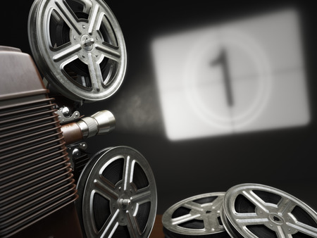 film: Cinema, movie or video concept. Vintage projector with projecting blank and reels of film. 3d