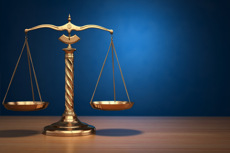 attorney scale: Concept of justice. Law scales on blue background. 3d Stock Photo