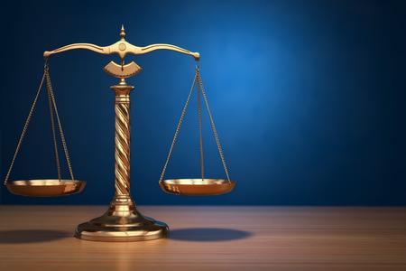 derecho penal: Concepto de la justicia. Escalas de la Ley sobre fondo azul. 3d Foto de archivo