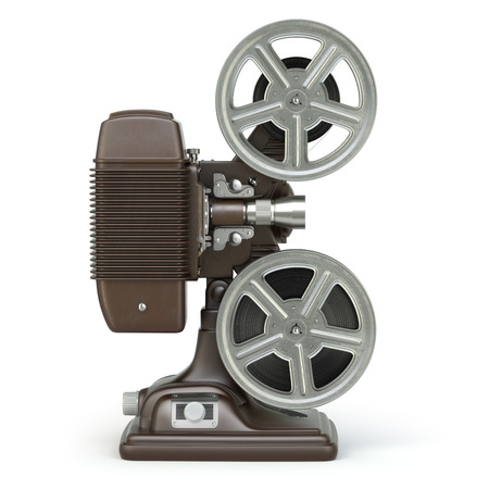 old spools: Vintage film movie projector isolated on white. 3d Stock Photo