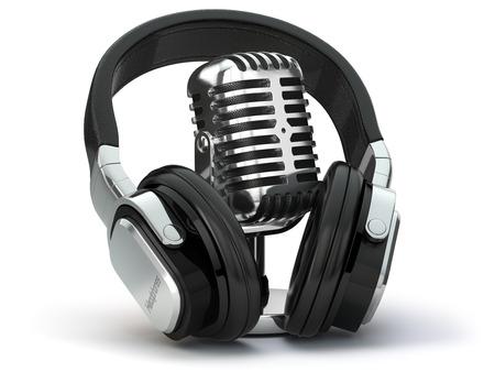 Vintage microphone and headphones. Concept audio and studio recording. 3d