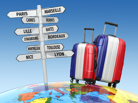 travel locations: Travel concept. Suitcases and signpost what to visit in France. 3d Stock Photo