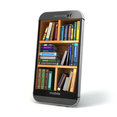 bookshelf digital: E-learning education or internet library concept. Smartphone and books. 3d