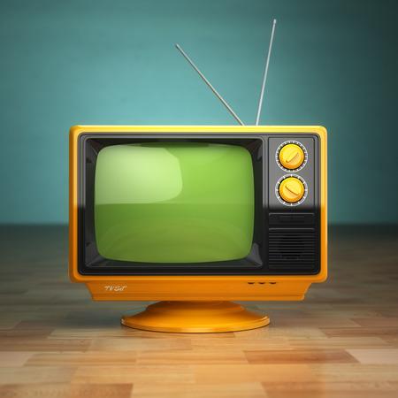 녹색 배경에 레트로 빈티지 텔레비젼. 텔레비전 개념. 3 차원