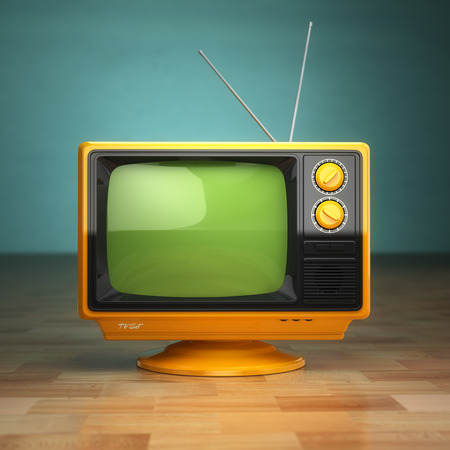 Retro vintage tv on green background. Television concept. 3d Stock Photo