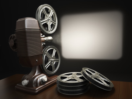 video reel: Cinema, movie or video concept. Vintage projector with projecting blank and reels of film. 3d