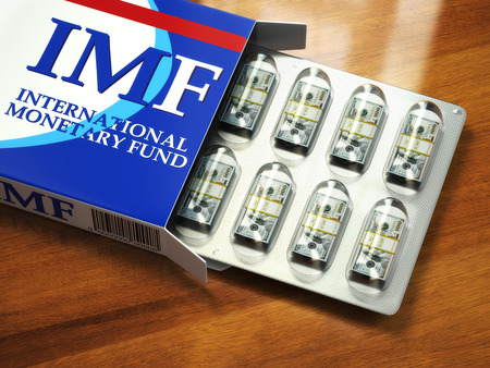 Concept of IMF tranches. Pack of dollars as pills in blister pack. 3d