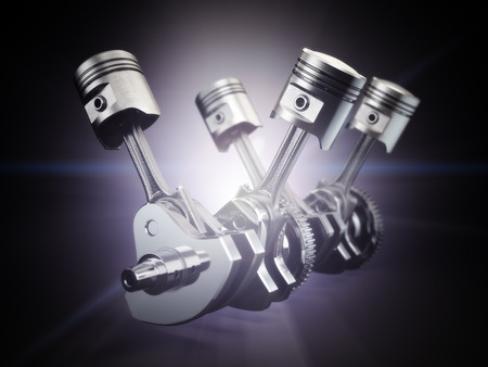 engine pistons: V4 engine pistons and cog on black background. 3d