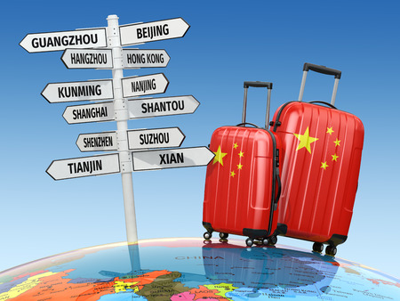 travel bags: Travel concept. Suitcases and signpost what to visit in China. 3d