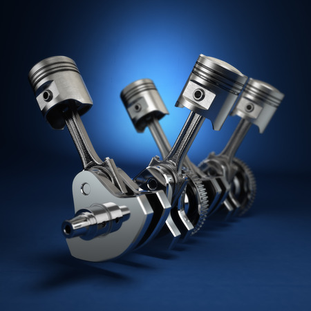 V4 engine pistons and cog on blue background. 3d Stock Photo