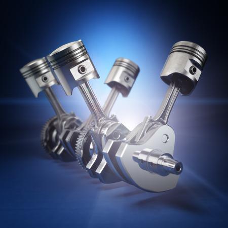 pistons: V4 engine pistons and cog on black background. 3d