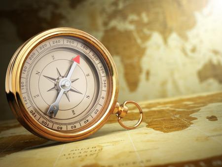 brujula: Compás de la vendimia en el viejo mapa del mundo. Concepto del recorrido. 3d