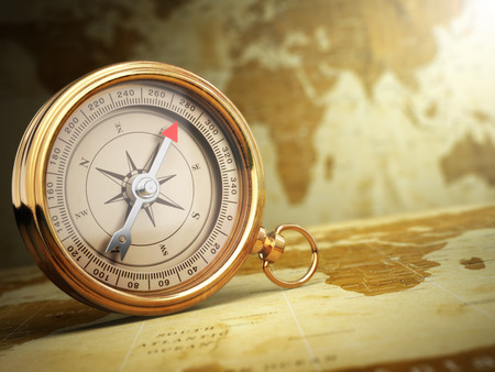 Vintage compass on the old world map. Travel concept. 3d Stok Fotoğraf