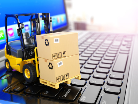 Concept of delivering, shipping or logistics. Forklift on laptop keyboard. 3d Stock Photo