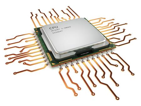 CPU unidad central de proceso aislado en blanco. 3d