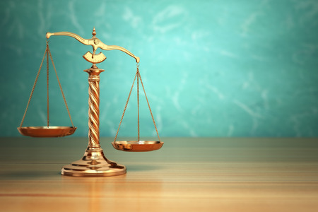 law symbol: Concept of justice. Law scales on green background. 3d