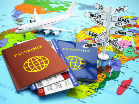 air travel: Travel or tourism concept. Passport, airplane, airtickets and destination sign on the map. 3d
