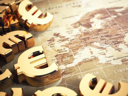 Euro teken op de wereldkaart achtergrond met DOF effect. 3d