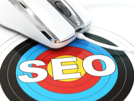dof: SEO concept. Mouse on the target with text. DOF effect. 3d Stock Photo