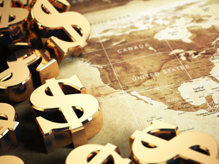 economy: Dollar sign on the world map background with DOF effect. 3d Stock Photo