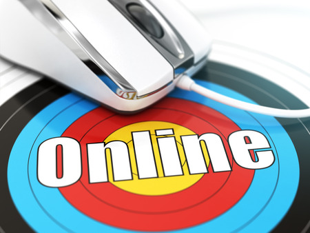 dof: Online concept. Mouse on the target with text. DOF effect. 3d Stock Photo